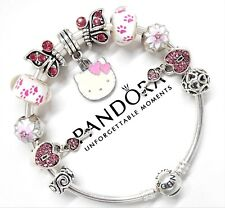 Authentic Pandora Silver Charm Bracelet With Pink Hello Kitty European Charms...