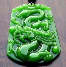 Wunderschöner Drache Jade-Anhänger Grün Halskette Unikat Amulett CHINA