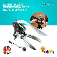 Lever Rabbit Corkscrew Wine Bottle Opener Black Silver Arm Gift Box Set