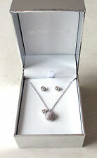 NWT Michael Kors Silver Pave Pendant Necklace & Stud Earrings Gift Set MKJ5943