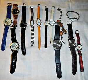 COLLECTION OF 12 & 1 OR BAKERS DOZEN WATCHES FROM LATE 20TH CENTURY NEED BATTERY