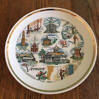 Vtg Vermont souvenir plate ceramic white gold trimmed Landmarks Mont Pelier red