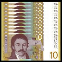 Lot 10 PCS, Serbia 10 Dinara Banknote, 2011-2014, P-54, UNC, 1/10 Bundle
