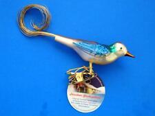 INGE GLAS CLIP ON BIRD BLUE TURQUOISE GERMAN GLASS CHRISTMAS ORNAMENT VOGEL