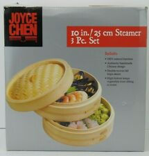 "Bamboo Steamer 3 piece Set by Joyce Chen 10"" NEW-Unused"