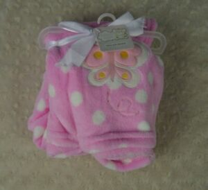 Snugly Baby Pink Butterfly Baby Blanket White Polka Dots Ultra Soft Plush Lovey