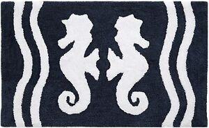 Vera Bradley SEALIFE Bath Rug/Mat 21 x 34 Seahorse Navy Blue