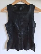 Goth Body Con Leather Tank Solid Black Zip Back 25 in Waist