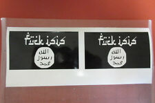 """ISIS FLAG 6"""" White or Black (2 pack) decal TERRORIST"""