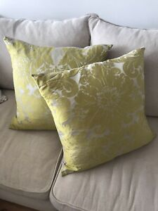 X2 Laura Ashley Large 65 X 65 CM Silk Mix Green Pattern Cushion Covers