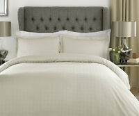 Cream Luxury Cotton Rich Satin Check Duvet Cover Set Double King Superking
