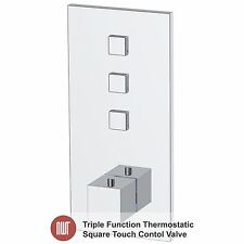 """Touch Control"" Chrome Thermostatic, Square Shower Valve (Triple Function)"