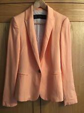 Zara Basics Apricot Soft Cotton Blazer Size S With Contrasting Stripe Lining.