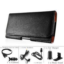 LG K20 Plus Black Leather Belt Clip Horizontal Pouch Holster Case + Accessories