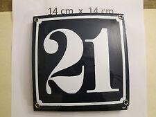 Hausnummer Nr. 21 weisse Zahl auf blauem Hintergrund 14 cm x 14 cm Emaille