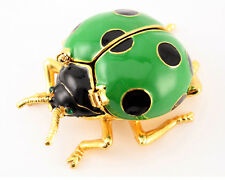 Green Ladybug Jewelry Trinket Box Collectible Cute Animal Bug Insect Gift 02068A