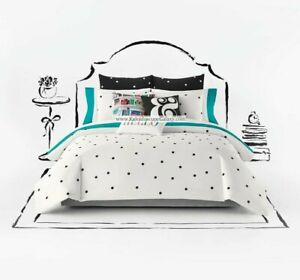 4pc Kate Spade Deco Dot FULL/QUEEN Duvet Cover Black & White Polka Dot Ampersand