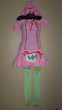WOMENS LEG AVENUE PINK STRAWBERRY GIRL BONNET DRESS HALLOWEEN COSTUME M 6 10