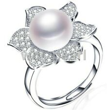 10-11mm white freshwater Cultured pearls Solid 925 Sterling Silver flower  Rings