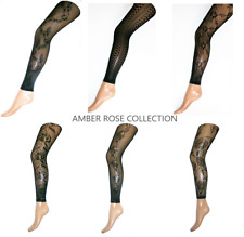 FISHNET FLORAL LACE NET FULL LENGTH FASHION FOOTLESS TIGHTS ONE SIZE UK SELLER