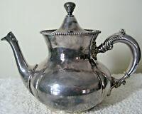 "EUC Antique 7"" HARTFORD STERLING Co. Quadruple Silverplate Teapot Hinged Lid 110"