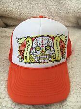 Rockstar Energy Drink Skull Orange Mesh Trucker Hat Snapback NWOT