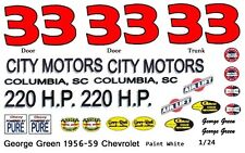 #33 George Green 1956-59 Chevy 1/25th - 1/24th Scale Waterslide Decal