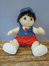 """1985 Mattel My Child 15"""" Soft Sculpture Boy Doll Brown Hair & Eyes w/ Vest & Tie"""