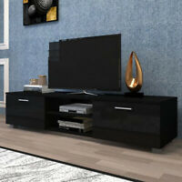 Black TV Stand For 65 -70 Inch TV Stands With 2 Storage Cabinet Open Shelves US