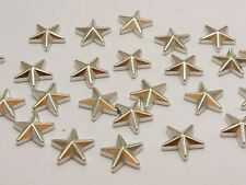 100 Silver Tone Metallic Acrylic Star Studs 14mm No Hole Cell Phone Deco
