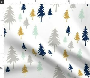 Forest Woodland Trees Mint Navy Spoonflower Fabric by the Yard