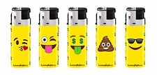 50 Emoji Full Size Disposable Lighters With Tray Assorted Colors Wholesale