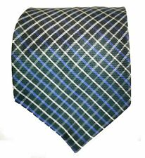 Tom James Silk Tie Green Blue White Plaid