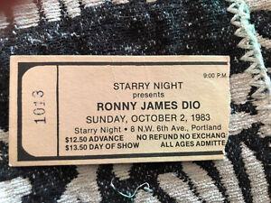 RONNY JAMES DIO original 1983 Portland concert ticket stub heavy metal ronnie