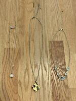 Custom Set Lot Bundle 3 Yellow Rose Gold Stone Pendant Dainty Necklaces Jewelry