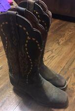 Justin Boots Copper Kettle Buffalo Leather SQ Toe SVL7313 SZ 6 B Women's Western