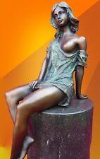BRONZE STATUE SITTING NOUVEAU FIGURE GIRL ART FIGURINE HOT CAST NUDE SCULPTURE