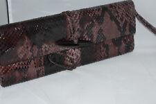 DARBY SCOTT Berry Glazed Python Mini Toggle Clutch Handbag