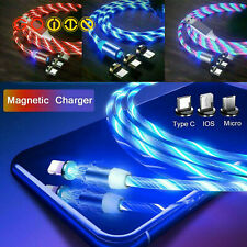 Led Flowing Light Up Magnetic Fast Charger Cable Android Type C Micro Usb