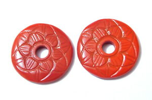 Beautiful Chinise Red Coral Donut Shape Flower Cut Size 20x20mm 1 Matched Pair