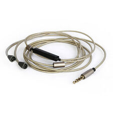Silver-plated Cable with Remote Mic for iphone to Sennheiser IE8 IE80 Headphone