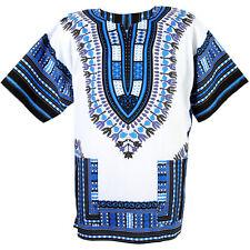 Cotton African Dashiki Mexican Poncho Tribal Boho Shirt Blouse White ad15s