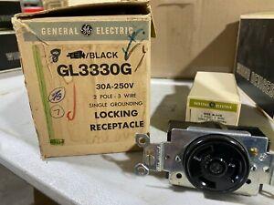Box of 7 GE GL3330G Single Locking Receptacle Black 30A 250V 2-Pole, NOS