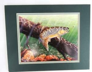 Fish Print Art Brown Trout By Ronnie Holze Limited Edition 252 in a series EUC