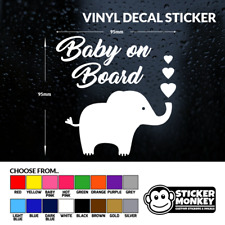 Baby On Board with Elephant - Car/Van - Vinyl Decal Sticker - Any Colour!