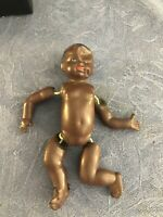 """Vintage 1930s Black African American Celluloid Baby Doll Dollhouse Strung 5"""""""