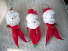 Vintage Christmas chenille Santa Claus tree ornaments or decorations lot of 3