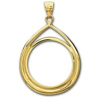 14~KT SOLID GOLD ~ FOR 1/10~OZ GOLD EAGLE ~ TEAR DROP  BEZEL ~3.0 GRAMS~ $136.88