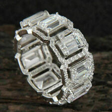 Band 14k White Gold Fn Silver 5.00ct Emerald Cubic Zirconia Womens Wedding