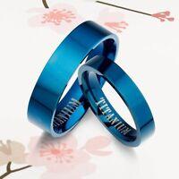 Men Women Blue Wedding Titanium Rings 086A3
